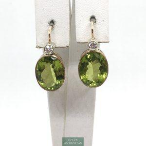 Fülbevaló olivinnel és gyémánttal