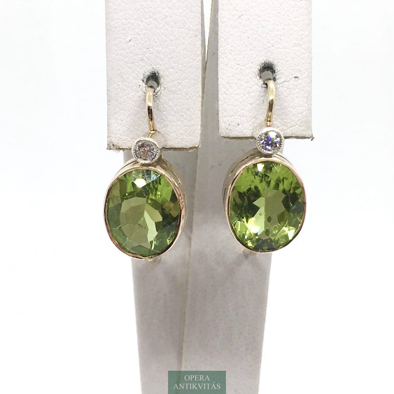 olivin fülbevaló gyémánttal