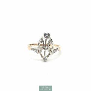 Szecessziós arany gyűrű gyémántokkal