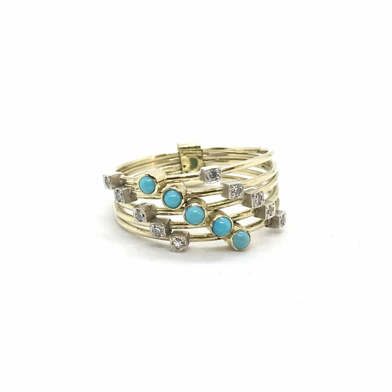 Arany Gyűrű Gyémántokkal és türkizekkel.