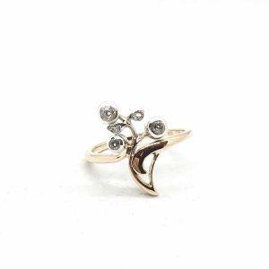 SF68. Szecessziós arany gyűrű gyémántokkal