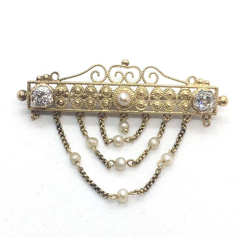 R. Klasszicista Arany Borss Gyémántokkal és Gyönggyel