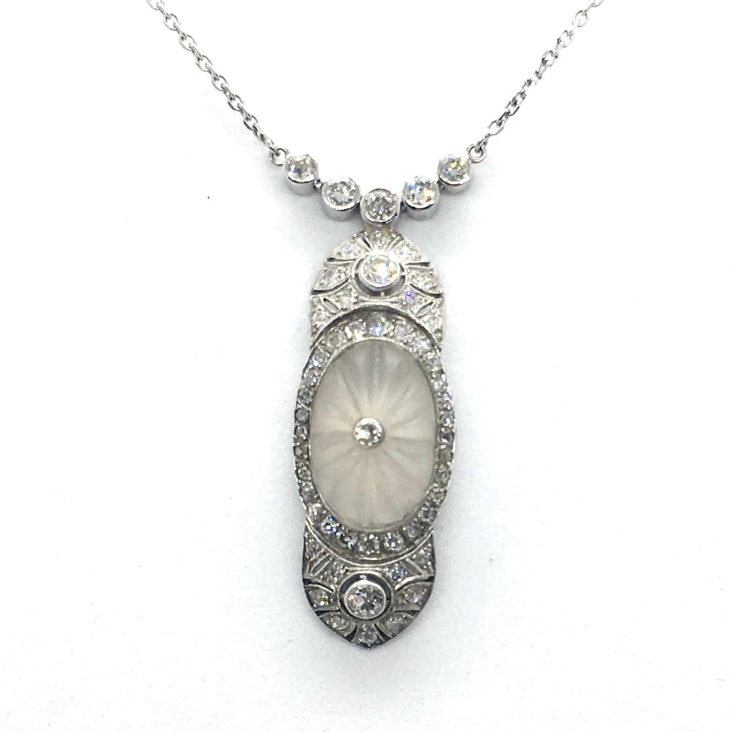 SZG14. Art Deco Nyakék Gyémántokkal és Hegyikristállyal
