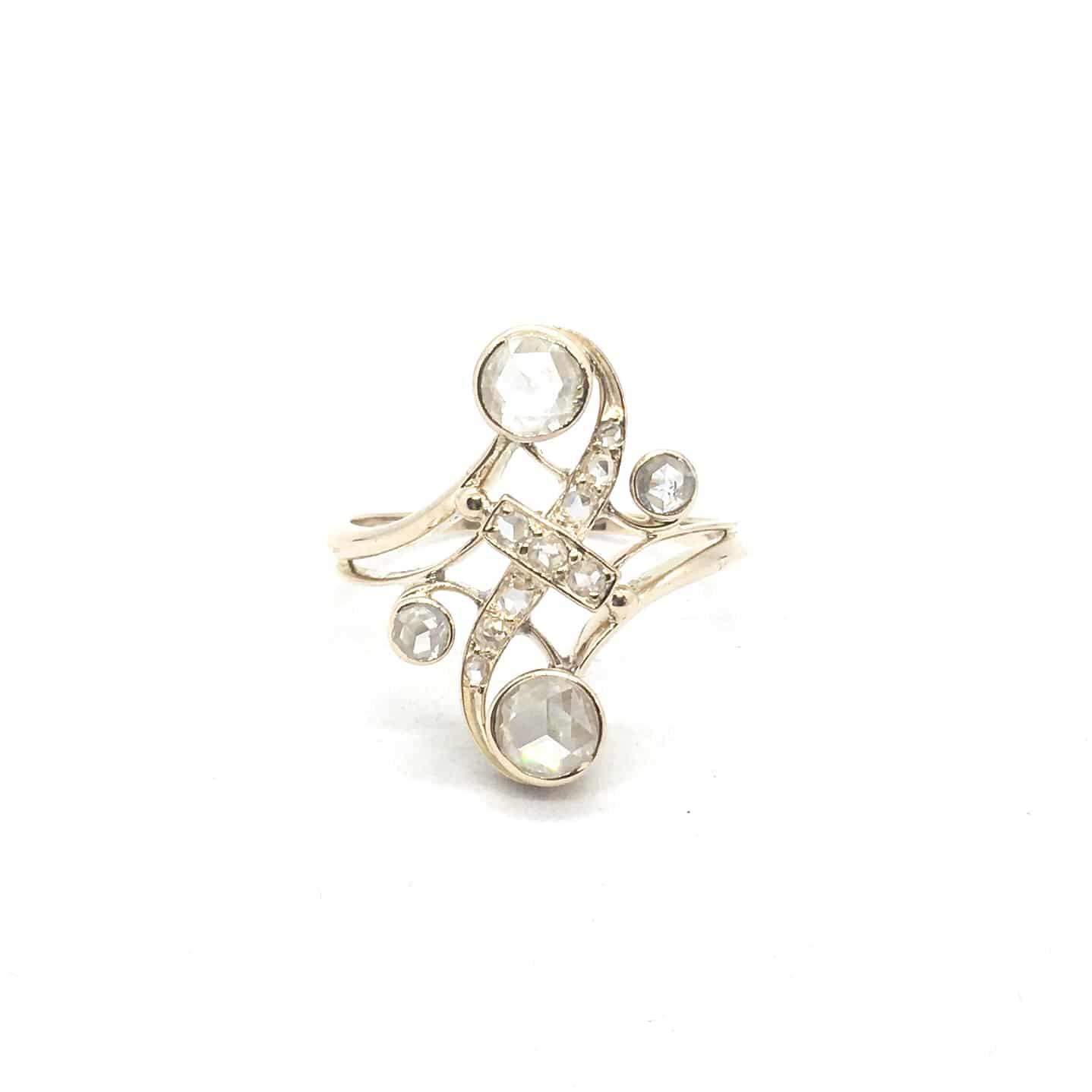 2961. Art Deco Arany Gyűrű Gyémántokkal