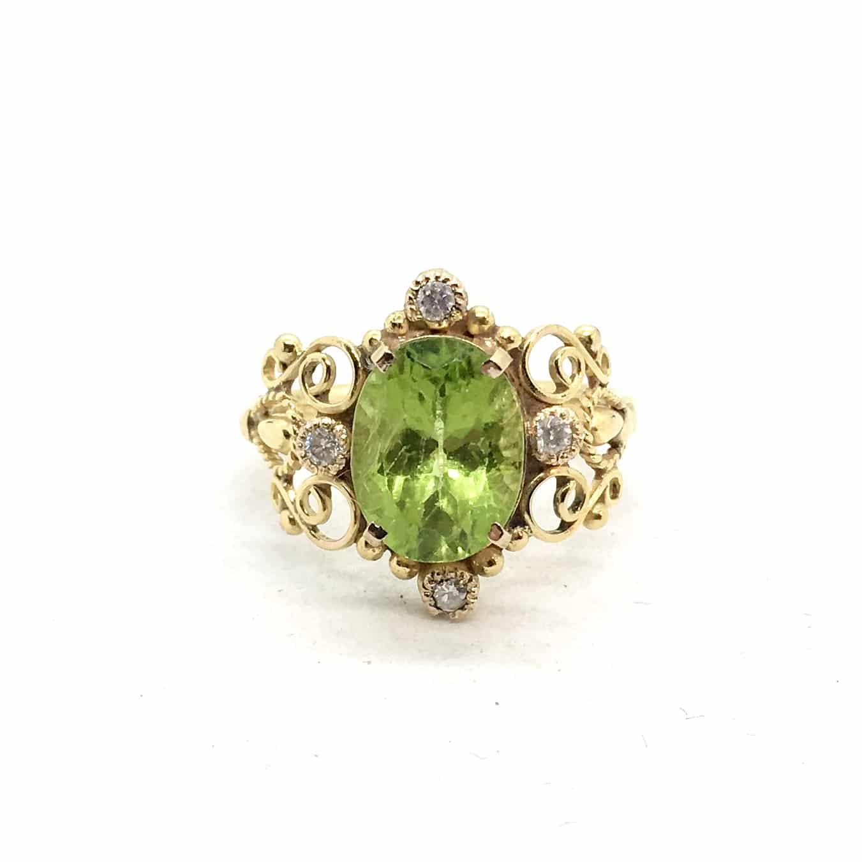 2962. Arany Gyűrű Olivinnel és Gyémánttal