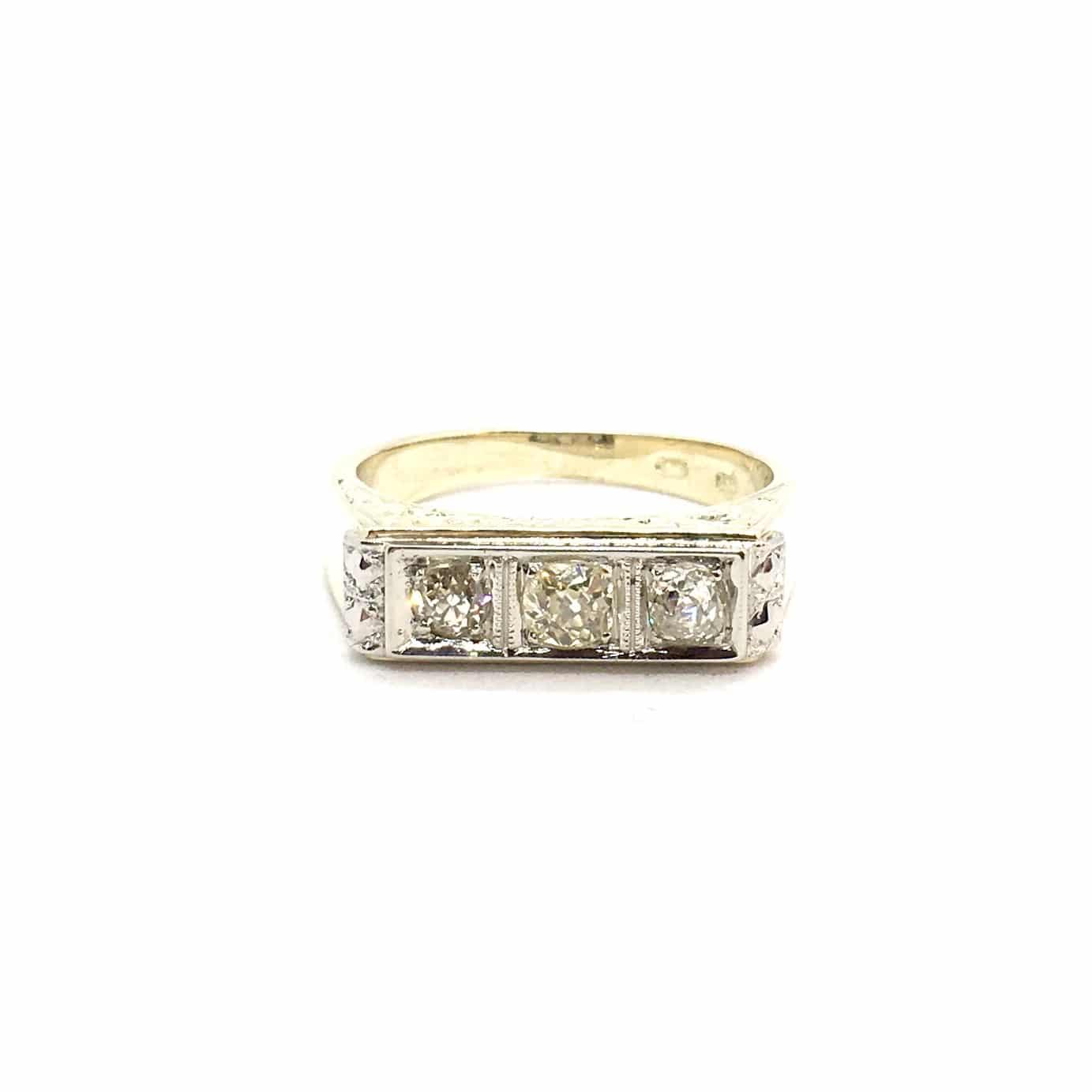 R80. Art Deco Gyűrű Gyémántokkal