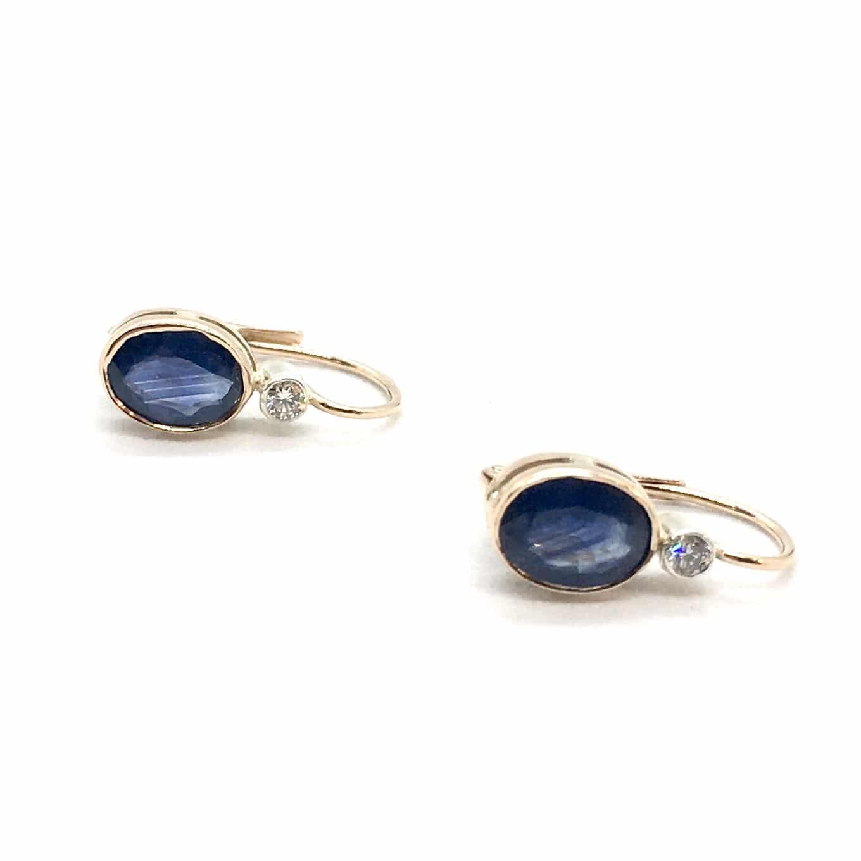 SF90. Arany Fülbevaló Kék Zafírral és Gyémánttal