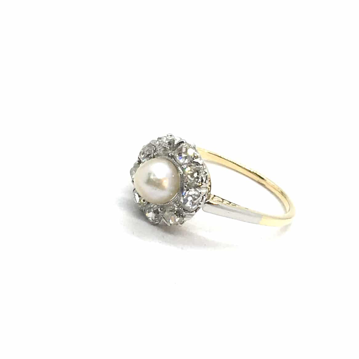 SF126. Art Deco Margaréta Gyűrű Gyémántokkal és Gyönggyel