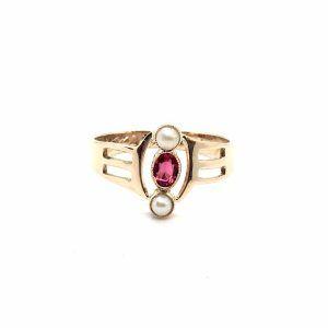SF103. Art Deco Arany Gyűrű Gyönggyel és Ékszerkővel