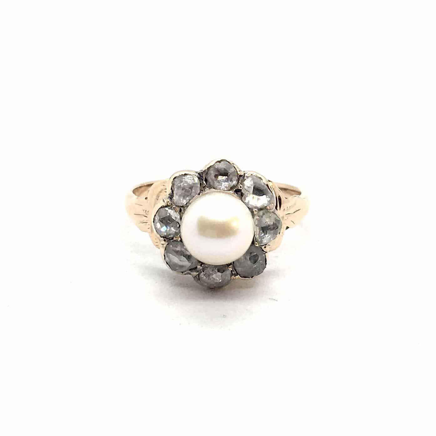 SF127. Art Deco Margaréta Gyűrű Gyémántokkal és Gyönggyel