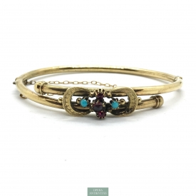 1068. Gold Plated Hinged Bangle with Turquoise