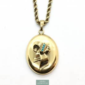 1067. Gold Plated Necklace with Photo Holder Pendant