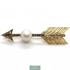 1164. Gold Brooches with Diamonds and Pearls