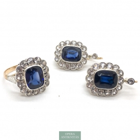 1113. Antique Jewelry Set with White and Blue Sapphire